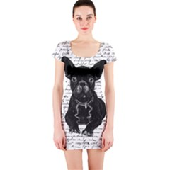 Cute Bulldog Short Sleeve Bodycon Dress by Valentinaart