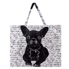 Cute Bulldog Zipper Large Tote Bag by Valentinaart