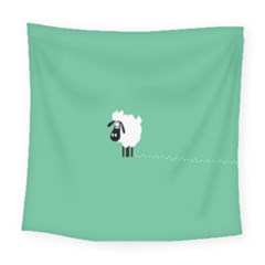 Sheep Trails Curly Minimalism Square Tapestry (large)