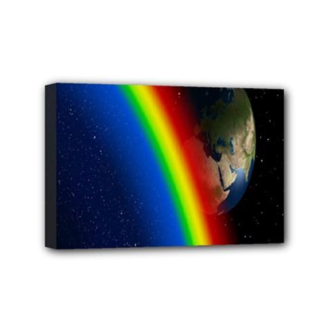 Rainbow Earth Outer Space Fantasy Carmen Image Mini Canvas 6  X 4  by Simbadda