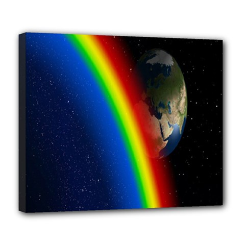 Rainbow Earth Outer Space Fantasy Carmen Image Deluxe Canvas 24  X 20   by Simbadda