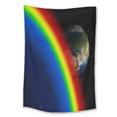 Rainbow Earth Outer Space Fantasy Carmen Image Large Tapestry