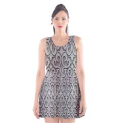 Patterns Wavy Background Texture Metal Silver Scoop Neck Skater Dress by Simbadda