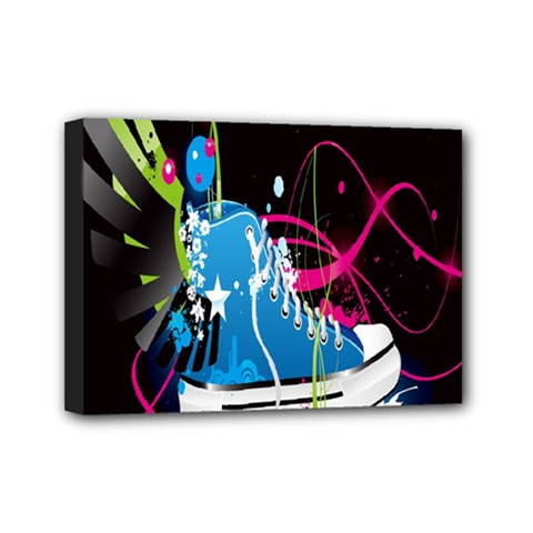 Sneakers Shoes Patterns Bright Mini Canvas 7  X 5