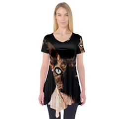 Sphynx Cat Short Sleeve Tunic  by Valentinaart