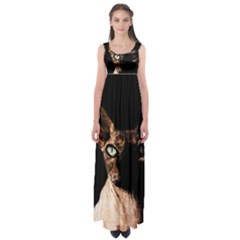 Sphynx Cat Empire Waist Maxi Dress by Valentinaart
