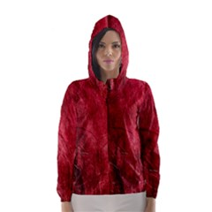 Red Background Texture Hooded Wind Breaker (women) by Simbadda