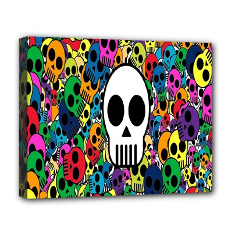 Skull Background Bright Multi Colored Deluxe Canvas 20  X 16   by Simbadda