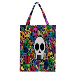 Skull Background Bright Multi Colored Classic Tote Bag by Simbadda