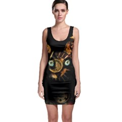 Sphynx Cat Sleeveless Bodycon Dress by Valentinaart