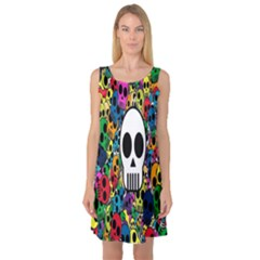Skull Background Bright Multi Colored Sleeveless Satin Nightdress
