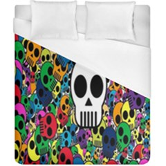 Skull Background Bright Multi Colored Duvet Cover (california King Size) by Simbadda