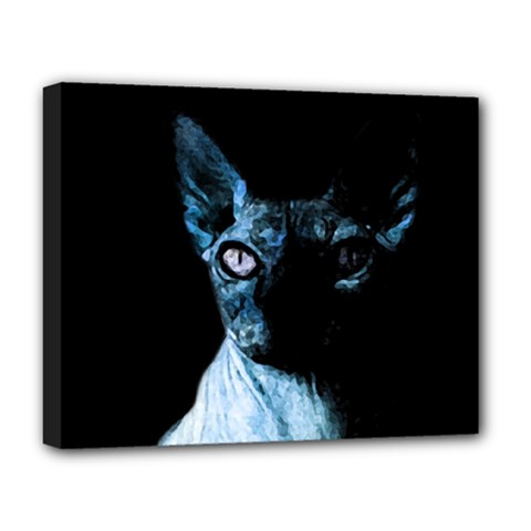 Blue Sphynx Cat Deluxe Canvas 20  X 16   by Valentinaart