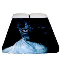 Blue Sphynx Cat Fitted Sheet (california King Size) by Valentinaart