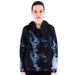 Blue Sphynx Cat Women s Zipper Hoodie by Valentinaart