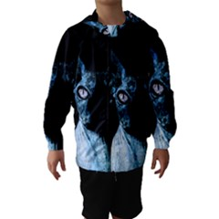 Blue Sphynx Cat Hooded Wind Breaker (kids) by Valentinaart