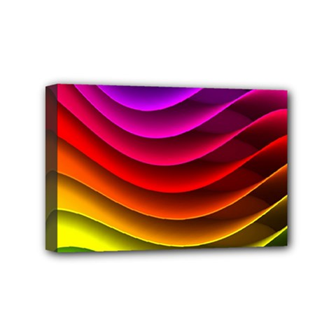 Spectrum Rainbow Background Surface Stripes Texture Waves Mini Canvas 6  X 4  by Simbadda