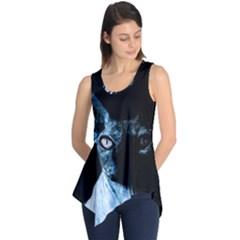 Blue Sphynx Cat Sleeveless Tunic by Valentinaart