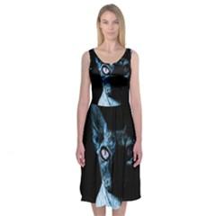 Blue Sphynx Cat Midi Sleeveless Dress by Valentinaart