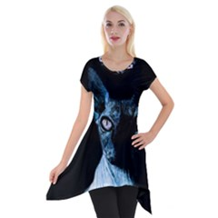Blue Sphynx Cat Short Sleeve Side Drop Tunic by Valentinaart