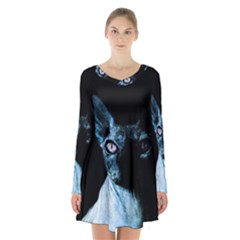 Blue Sphynx Cat Long Sleeve Velvet V Neck Dress by Valentinaart