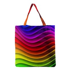 Spectrum Rainbow Background Surface Stripes Texture Waves Grocery Tote Bag by Simbadda