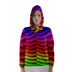 Spectrum Rainbow Background Surface Stripes Texture Waves Hooded Wind Breaker (women) by Simbadda