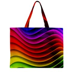 Spectrum Rainbow Background Surface Stripes Texture Waves Zipper Mini Tote Bag by Simbadda