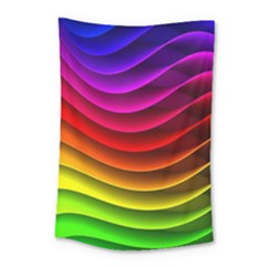 Spectrum Rainbow Background Surface Stripes Texture Waves Small Tapestry by Simbadda