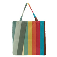 Texture Stripes Lines Color Bright Grocery Tote Bag by Simbadda
