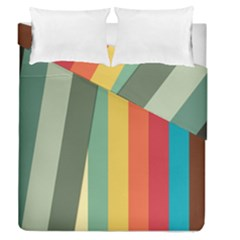 Texture Stripes Lines Color Bright Duvet Cover Double Side (Queen Size) by Simbadda