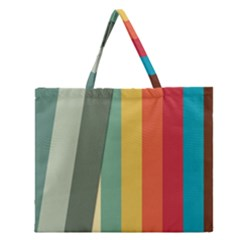 Texture Stripes Lines Color Bright Zipper Large Tote Bag by Simbadda