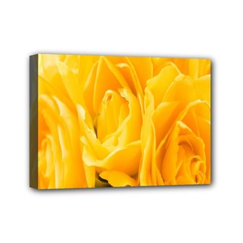 Yellow Neon Flowers Mini Canvas 7  X 5  by Simbadda