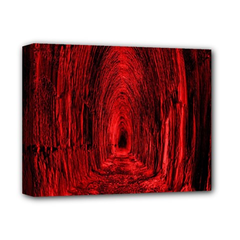 Tunnel Red Black Light Deluxe Canvas 14  X 11  by Simbadda
