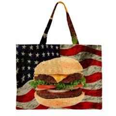 Hamburger Zipper Large Tote Bag by Valentinaart