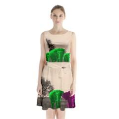 Africa  Sleeveless Chiffon Waist Tie Dress by Valentinaart