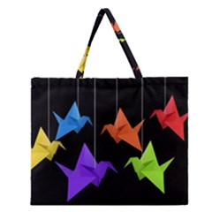 Paper Cranes Zipper Large Tote Bag by Valentinaart