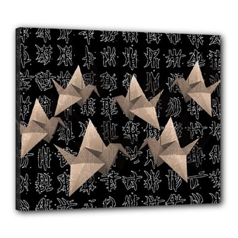 Paper Cranes Canvas 24  X 20  by Valentinaart