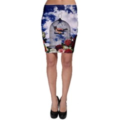 Vintage Bird In The Cage  Bodycon Skirt by Valentinaart