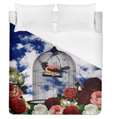Vintage Bird In The Cage  Duvet Cover (queen Size) by Valentinaart