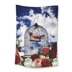 Vintage Bird In The Cage  Small Tapestry by Valentinaart