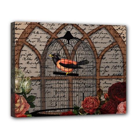 Vintage Bird In The Cage Canvas 14  X 11  by Valentinaart