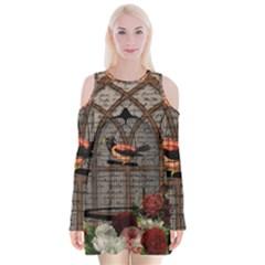 Vintage Bird In The Cage Velvet Long Sleeve Shoulder Cutout Dress by Valentinaart