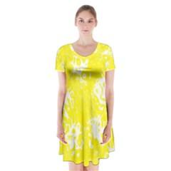 Pattern Short Sleeve V Neck Flare Dress by Valentinaart