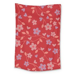 Floral Pattern Large Tapestry by Valentinaart