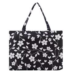 Floral Pattern Medium Zipper Tote Bag by Valentinaart