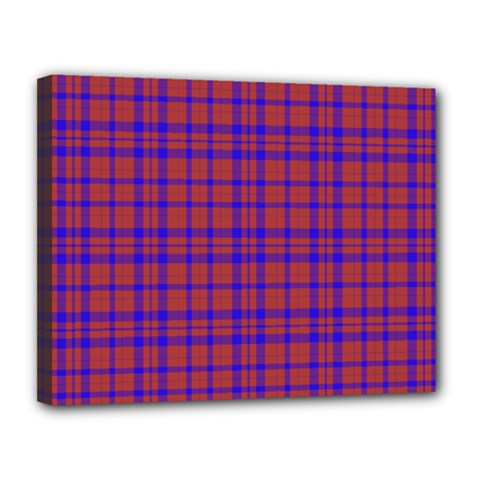 Pattern Plaid Geometric Red Blue Canvas 14  X 11  by Simbadda