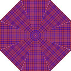 Pattern Plaid Geometric Red Blue Hook Handle Umbrellas (large) by Simbadda