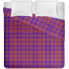 Pattern Plaid Geometric Red Blue Duvet Cover Double Side (king Size) by Simbadda