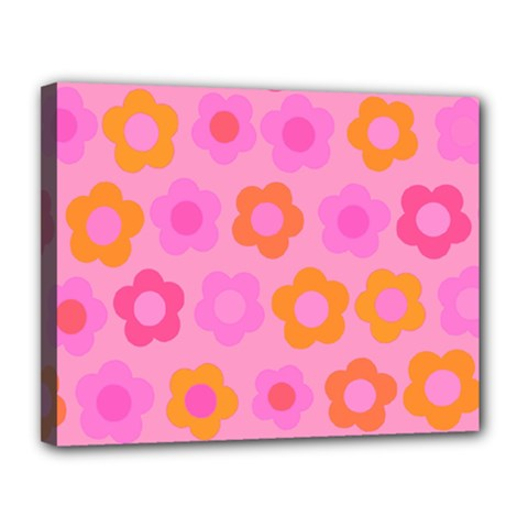 Pink Floral Pattern Canvas 14  X 11  by Valentinaart
